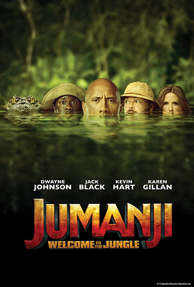 Event flyer for Sugar Creek Movie Mania Presents: Jumanji: Welcome to the Jungle